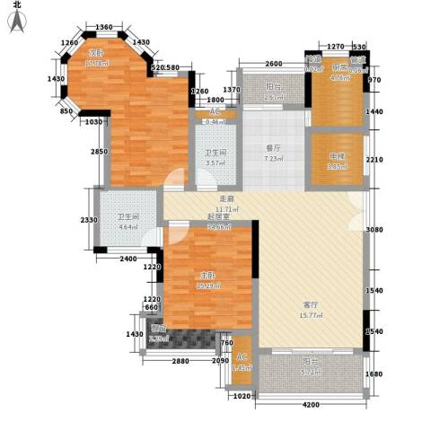 联泰香域滨江2室0厅2卫1厨124.00㎡户型图