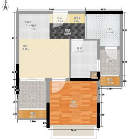 加州花园(万江)1室1厅1卫1厨68.00㎡户型图