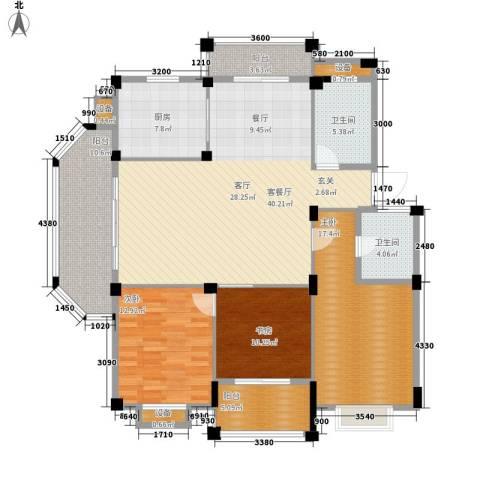 红景佳苑3室1厅2卫1厨166.00㎡户型图
