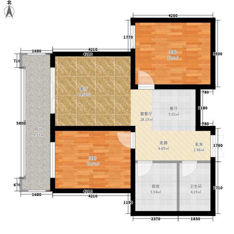 檀香湾12.40㎡一期6B-2户型2室2厅1卫1厨