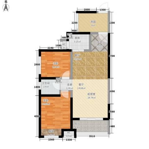 曲江圣卡纳2室0厅1卫1厨91.00㎡户型图