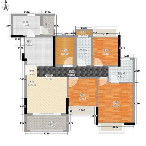 加州花园(万江)3室1厅2卫1厨88.22㎡户型图