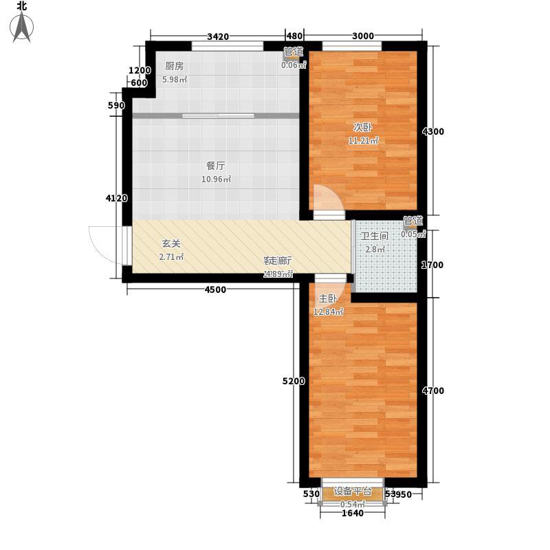 铭峰家苑74.48㎡一期6#7#F2户型2室1厅1卫1厨