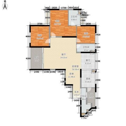 皇都花园2期3室0厅3卫1厨157.32㎡户型图