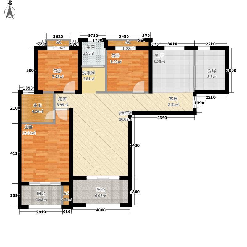 钓鱼台2号121.00㎡A4户型3室2厅2卫1厨