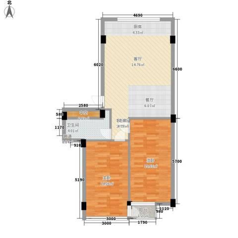 金华新村2室1厅1卫0厨84.00㎡户型图