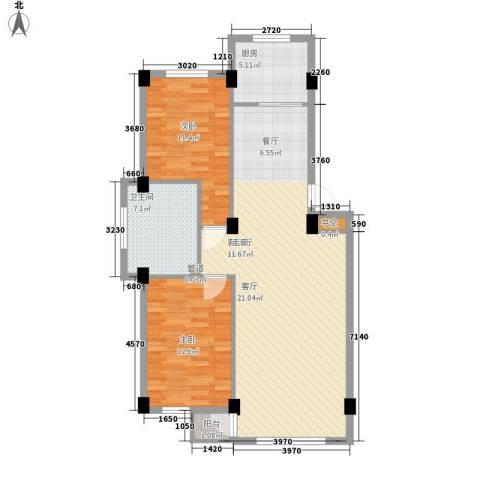 金华新村2室1厅1卫1厨96.00㎡户型图