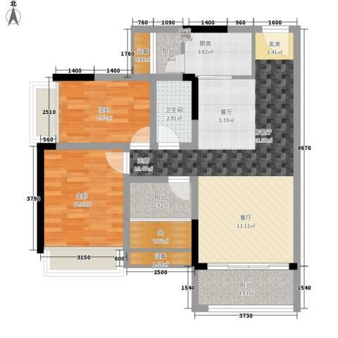 加州花园(万江)2室1厅1卫1厨65.93㎡户型图