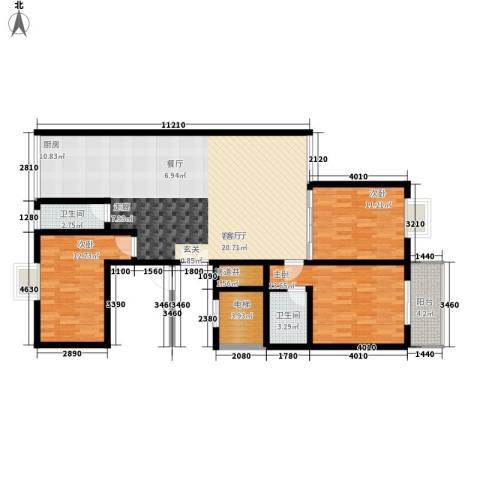 铜锣湾城市福邸3室1厅2卫0厨130.00㎡户型图