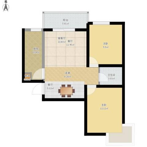 颐馨雅苑2室1厅1卫1厨85.00㎡户型图