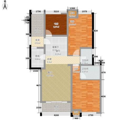 嘉园小区3室1厅2卫1厨133.00㎡户型图