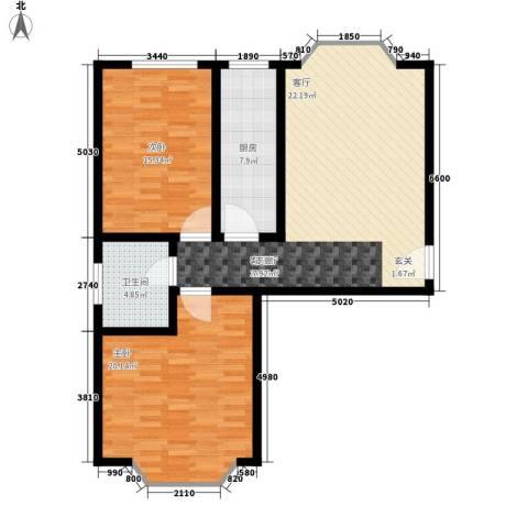 铜锣湾城市福邸2室1厅1卫1厨90.00㎡户型图