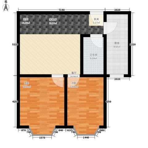 铜锣湾城市福邸2室1厅1卫1厨81.00㎡户型图