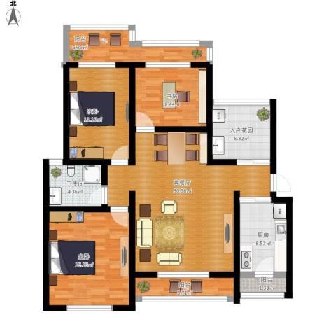 香格里拉小区3室1厅1卫1厨139.00㎡户型图