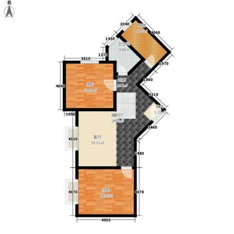 铜锣湾城市福邸2室1厅1卫1厨89.00㎡户型图