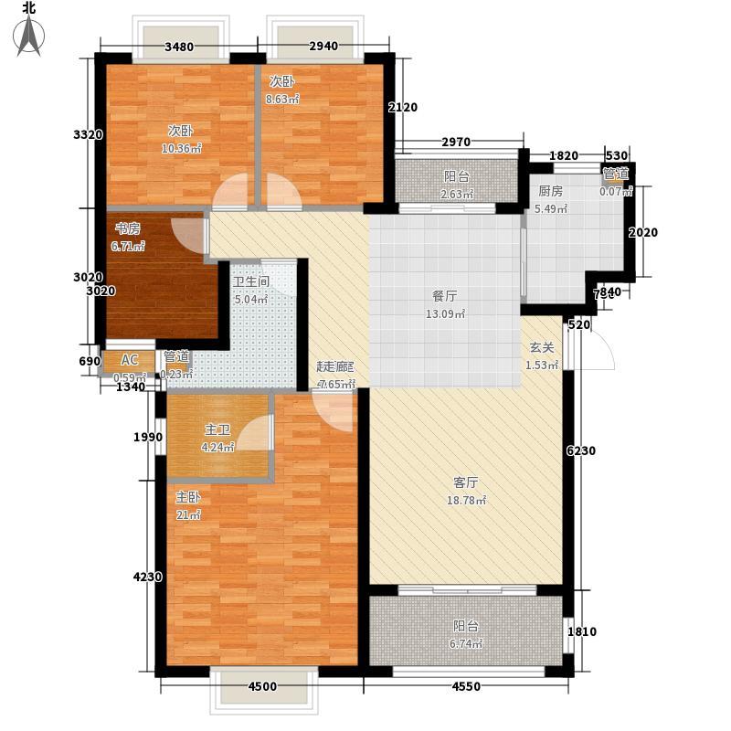 艺邦・山水城136.00㎡一期61-64号楼L户型4室2厅2卫1厨