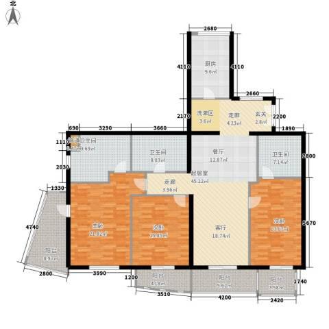 东方曼哈顿尚东区3室0厅3卫1厨175.00㎡户型图