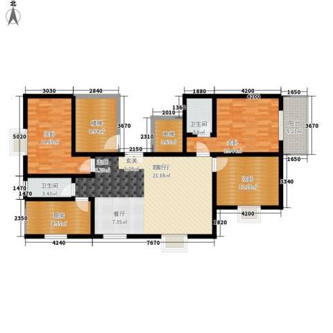 铜锣湾城市福邸3室1厅2卫1厨130.00㎡户型图