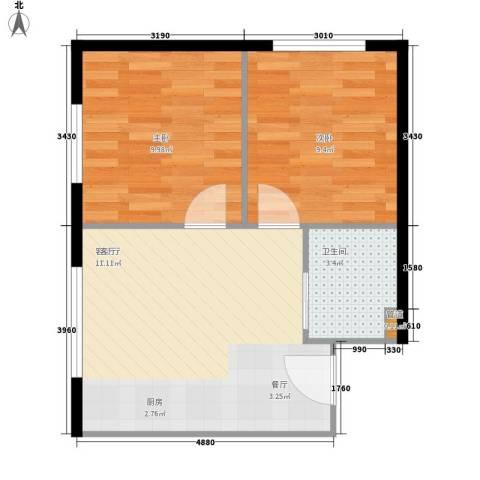 鑫兴君府小区2室1厅1卫0厨87.00㎡户型图
