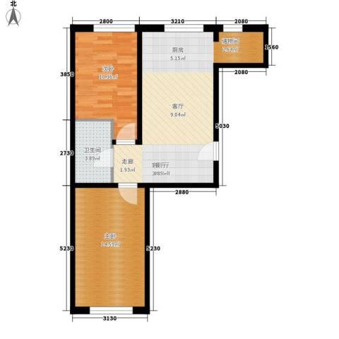 烽火B区2室1厅1卫0厨74.00㎡户型图