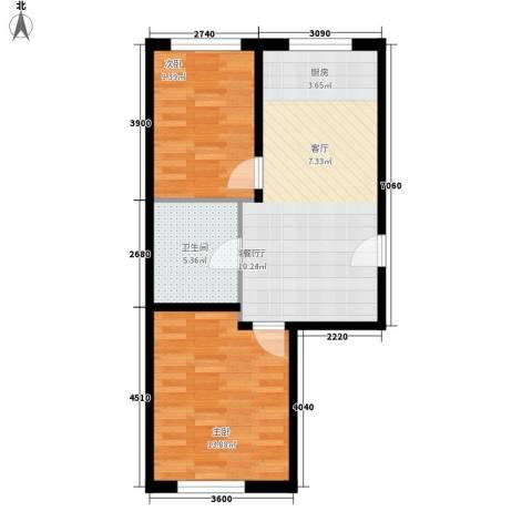 烽火B区2室1厅1卫0厨70.00㎡户型图