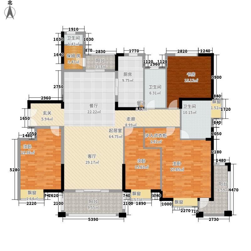 中集紫金文昌户型图2D户型 4室2厅2卫1厨