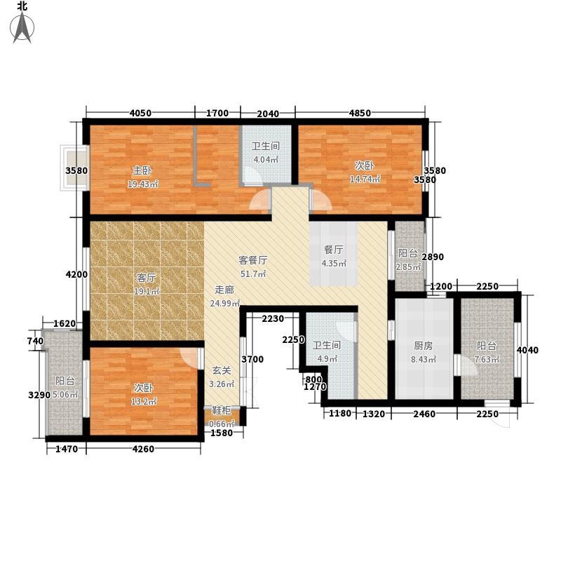 檀香湾185.38㎡一期5B-3户型3室2厅2卫1厨