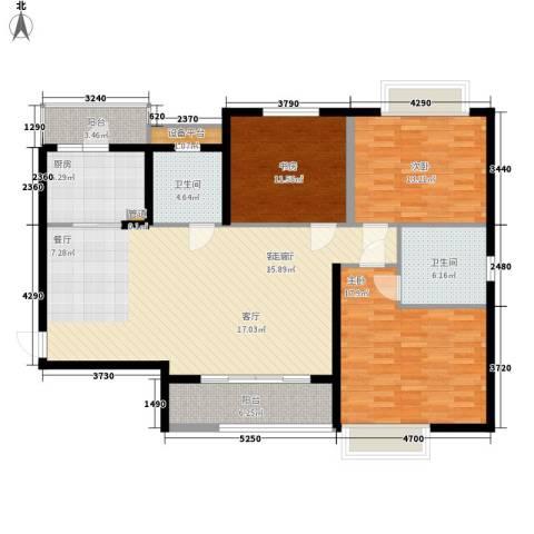 石板街9号小区3室1厅2卫1厨124.45㎡户型图
