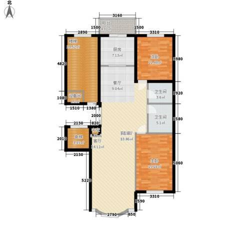 皇城东苑二期2室1厅2卫1厨125.00㎡户型图