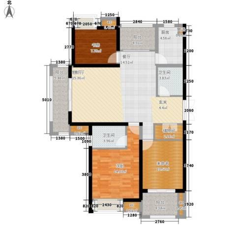 中乐江南名都2室1厅2卫1厨140.00㎡户型图