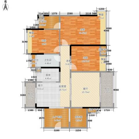 中源国际城3室1厅2卫1厨118.59㎡户型图