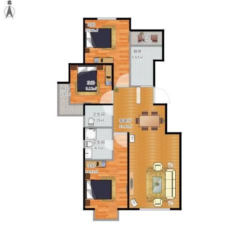 中加锦园3室1厅2卫1厨120.00㎡户型图