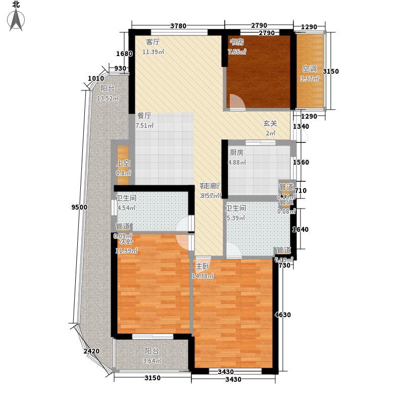 浙能・蓝园114.00㎡1#楼西边套B1户型3室2厅2卫1厨