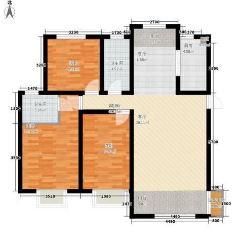 阜丰康桥郡3室1厅2卫1厨115.00㎡户型图
