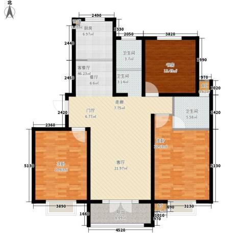 华夏太阳城3室1厅2卫1厨138.00㎡户型图