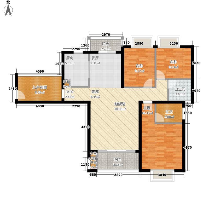 艺邦・山水城127.60㎡一期69、71、77号楼S1户型3室2厅2卫1厨