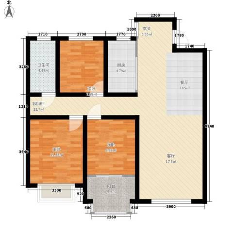 阜丰康桥郡3室1厅1卫1厨111.00㎡户型图