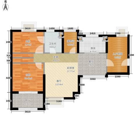 绿地香颂公寓2室0厅1卫1厨104.00㎡户型图