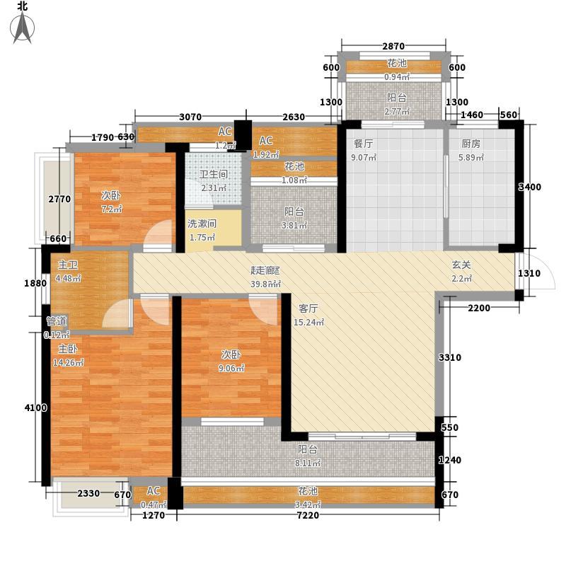 海湾1号132.42㎡1#D户型3室2厅2卫1厨