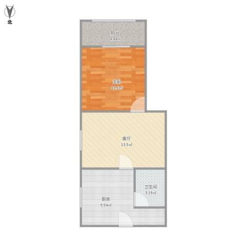 阳曲路781弄小区1室1厅1卫1厨57.00㎡户型图