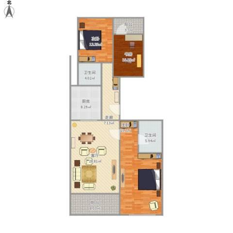 柏悦公馆3室1厅2卫1厨153.00㎡户型图