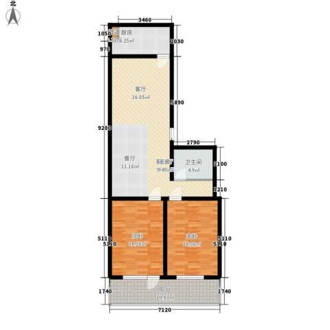 科苑小区2室1厅1卫1厨93.00㎡户型图