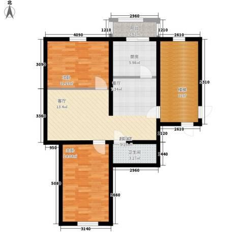 富民花园二期2室0厅1卫1厨83.00㎡户型图