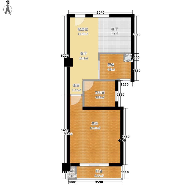 恒生阳光城57.00㎡恒生阳光城户型图三期公寓B户型1室1厅1卫1厨户型1室1厅1卫1厨