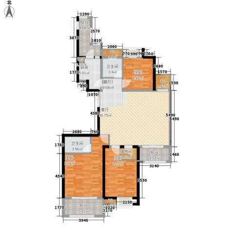 中乐江南名都3室1厅2卫1厨155.00㎡户型图