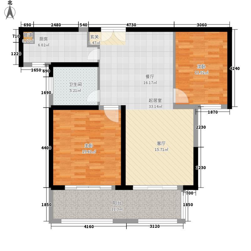 威尼斯水城94.00㎡御江天下d2户型2室2厅1卫1厨