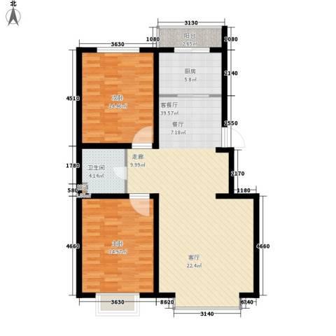 青阳四季园2室1厅1卫1厨93.00㎡户型图
