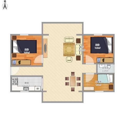 方圆小区3室1厅1卫1厨74.00㎡户型图