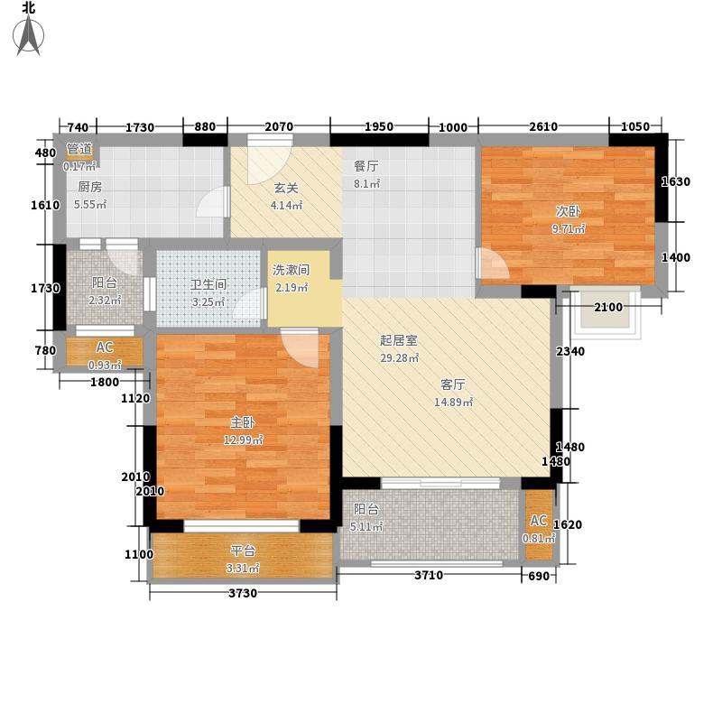 威尼斯水城83.00㎡十四街区02、12-14幢标准层2-A户型2室2厅1卫1厨