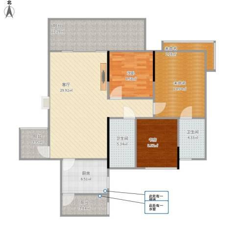 保利心语花园别墅2室1厅2卫1厨107.36㎡户型图